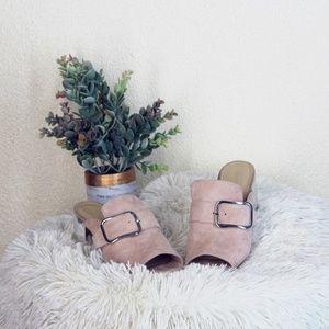 Marc Fisher || Blush Mfrima Suede Mirror Heels